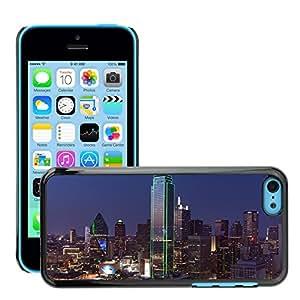 Etui Housse Coque de Protection Cover Rigide pour // M00169033 Dallas Skyline Anochecer Paisaje urbano // Apple iPhone 5C