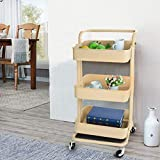 3-Tier Rolling Utility Cart Metal Storage Shelves