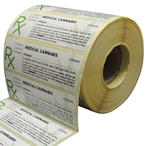 Generic Medical Cannabis Labels, State Compliant Sticker Decal Marijuana, 1000 Labels Per Roll with Large Rx Symbol]()