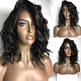 Fennell Loose Wave Lace Front Wigs with Baby Hair Short Bob Human Hair Wigs for Women (10 Inch, Lace Front Wig)