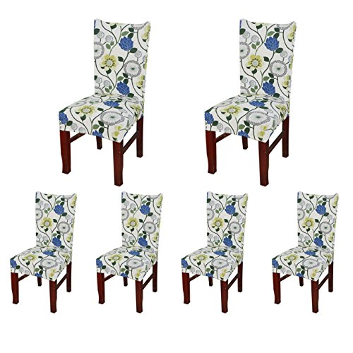 Floral Slipcover - SoulFeel Set of 6 x Stretchable Dining Chair Covers, Spandex Chair Seat Protector Slipcovers for Holiday Banquet, Home Party, Hotel, Wedding Ceremony (Style 36, Floral)