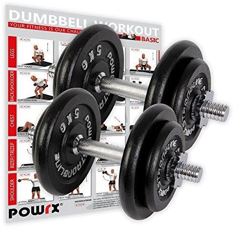 POWRX - Mancuernas hierro fundido 35 kg set (2 x 17,5 kg) + PDF Workout con 20 ejercicios: Amazon.es: Deportes y aire libre