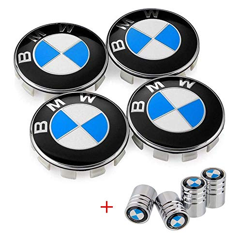 Enseng Set of 4 - BMW Wheel Center Caps Emblem, 68mm BMW Rim Center Hub Caps for All Models with BMW Wheels Logo Blue & White Color