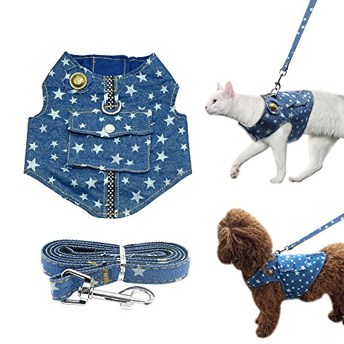 - Beirui Denim Dog Harness Vest and Leash Set - Soft Blue Padded Pet Jean Stars Dog Shirt Pet Clothing - Dog Apparel & Accessories with Pocket for Puppy Small Dogs Cat Chihuahua,Teddy,Bichon, Schnauzer
