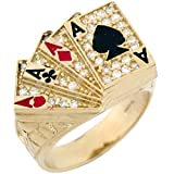10k Solid Gold CZ Four of A Kind Poker Enamel Lucky Large Mens Ring