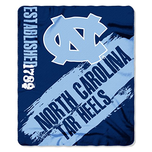 NCAA North Carolina Tar Heels Painted Printed Fleece Throw Blanket, 50