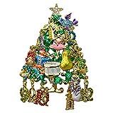 Kirks Folly 12 Days of Christmas Tree Pin Pendant Goldtone