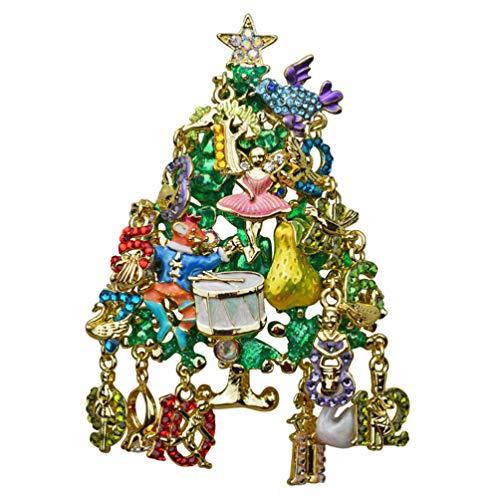 (Kirks Folly 12 Days of Christmas Tree Pin Pendant Goldtone)