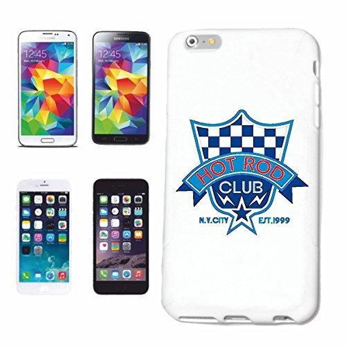 """cas de téléphone iPhone 6+ Plus """"DRIVERS HOT ROD CLUB NEW YORK CITY CHAUD CHAUD AMERICA US CAR SPORT AUTOMOBILE MOTORSPORT"""" Hard Case Cover Téléphone Covers Smart Cover pour Apple iPhone en blanc"""