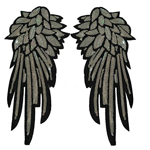 1Pair Sequins Silver Embroidered Angel Wings