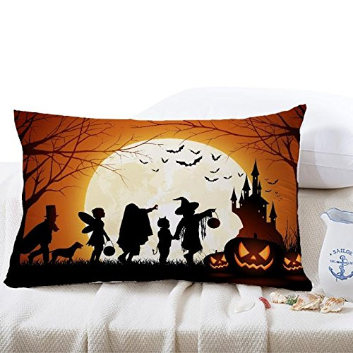 Set of 3 Halloween Square Linen Decorative Throw Pillow Case Cushion Covers for Sofa Home Decor -Trick or Treat-3050cm (I, One Size)