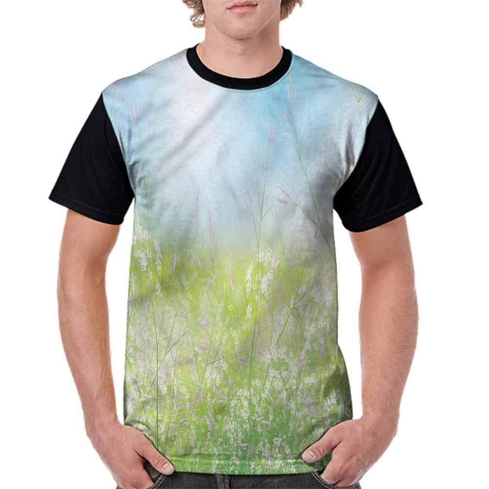 Cotton T-Shirt,Wildflowers Fresh Meadow Fashion Personality Customization