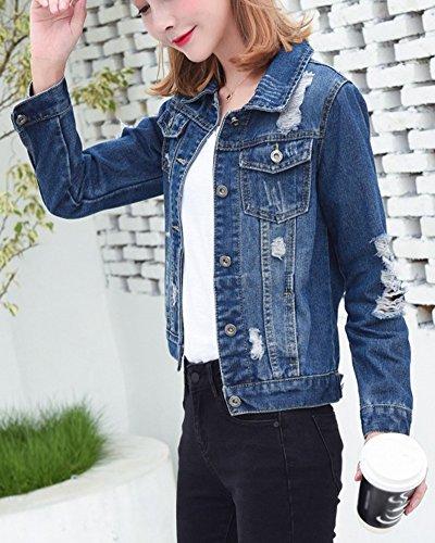 Manica Runyue Cappotti Lunga In Basic Oversized Buco Blu Jeans Pulsante Strappato Donna Corta Denim Marino Giacca AAwxYr