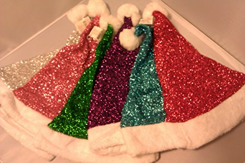 Santa Hat Tinsel Fabric Glittery Adult or Child Over 14 ()