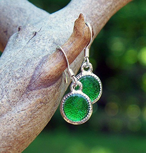 - Recycled Vintage Green Beer Bottle Glass Color Dot Earrings