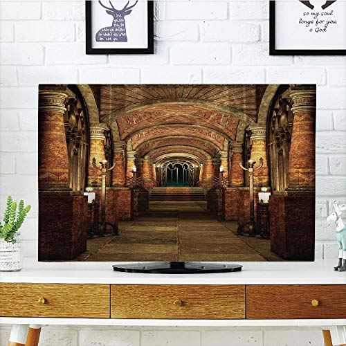 iPrint LCD TV Cover Multi Style,Gothic,Ancient Passage with Stairways Secret Gateway Mystical Pillars Medieval Temple Theme,Red Brown,Customizable Design Compatible 32