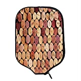 YOLIYANA Wine Durable Racket Cover,Random Selection of Used Wine Corks Vintage Quality Gourmet Taste Liquor for Sandbeach,One Size