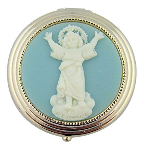 Divine Child Jesus Divino Nino Icon on Gold Tone Pill Box, 1 7/8 Inch