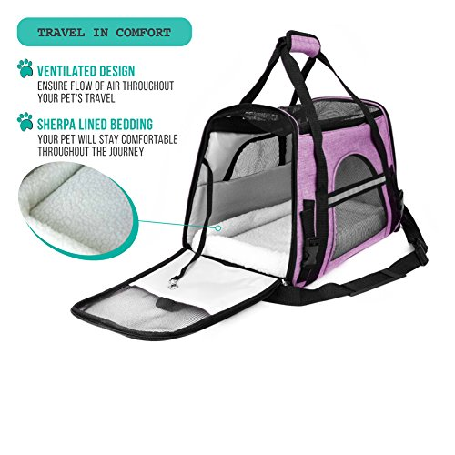 PetAmi Premium Airline Approved Soft-Sided Pet Travel Carrier | Ventilated, Comfortable Design with Safety Features | Ideal for Small to Medium Sized Cats, Dogs, and Pets (Small, Heather Purple)