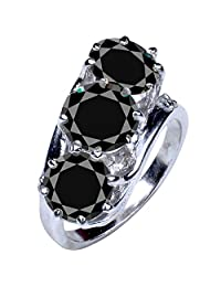RINGJEWEL 5.62 ct Black Round Real Moissanite Solitaire Engagement & Wedding Ring