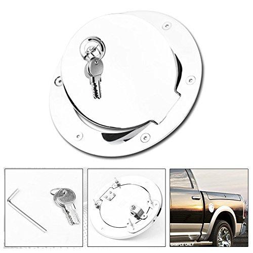 (VXMOTOR for 2009 2010-2016 2017 Dodge Ram Pickup Truck - Chrome Aluminum Fuel Gas Tank Door Cover Cap with Key & Lock)