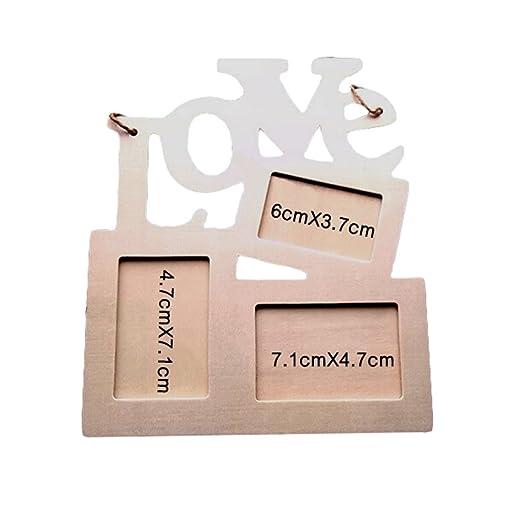 Mcitymall77-DIY Marco de fotos de bricolaje amor romántico,de madera,palabra LOVE(carazón),color blanco,15.5*16.5cm: Amazon.es: Hogar
