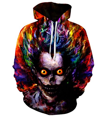 SWAG Hipster Steampunk Hoodie Tie Dye Death Note Ryuk Graphic Halloween Cosplay Costumes Pullover Coat
