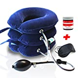 Neck Traction Device + Muscle Relief Balm + Eye Mask, CHISOFT 3 Layer Cervical Neck Stretcher to Correct Posture, Help Neck Pain,