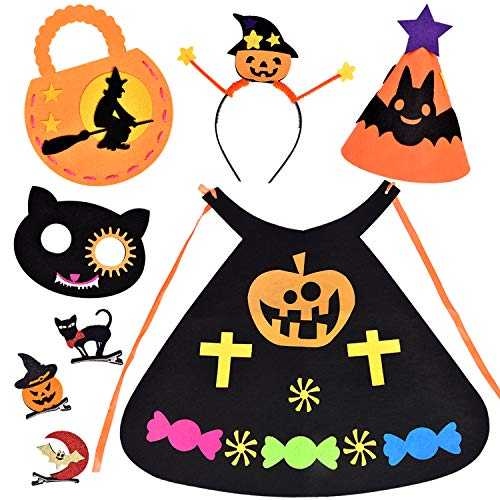 FUN LITTLE TOYS 8 PCs Halloween Costumes for Girls, for Kids Includes DIY Kids Cape, Halloween Mask, Halloween Headband, Halloween Treat Bag, Halloween Hat, 3 Hair -