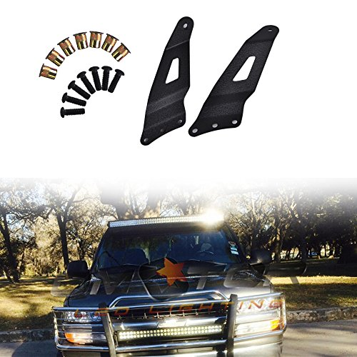 Omotor 1999-2006 Chevy Silverado/GMC Sierra Steel Metal Upper Roof Windshield Mounting Brackets for 50-inch Curved Led Work Light Bar SUV - Mount Roof Truck Light