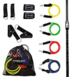 Space Saver Gym Home Gym Resistance Bands Training Tool (Wall Mount Anchor, 1 Adjustable Rail Car) + Full Resistance Bands Training Kit (4 Levels of Resistance) Exercise & Fitness