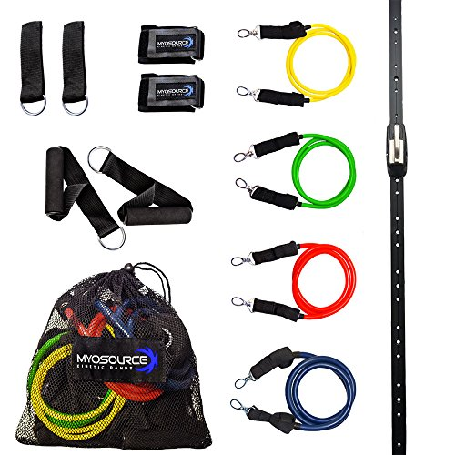 Space Saver Gym Home Gym Resistance Bands Training Tool (Wall Mount Anchor, 1 Adjustable Rail Car) + Full Resistance Bands Training Kit (4 Levels of Resistance) Exercise & Fitness by Kinetic Bands