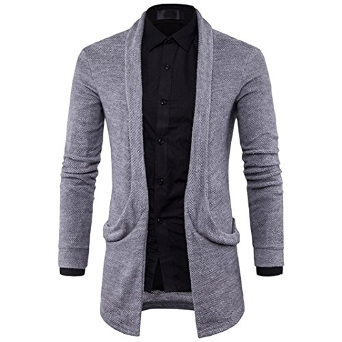 Mens Slim Fit Hooded Knit Sweater Fashion Solid Long Trench Jacket Coats Jushye Mens Cardigan Coat