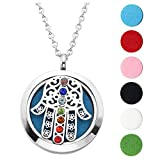 Jovivi Hypoallergenic 316L Surgical Stainless Steel Hollow Aromatherapy Essential Oil Diffuser Charm Necklace Locket Pendant,24 Inch Chain 6 Washable Pads