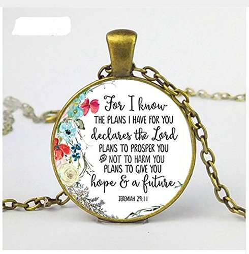 Jeremiah 29:11 Necklace for I Know The Plans I Have for You Bible Verse Pendant Necklace Glass Christian Women Men -