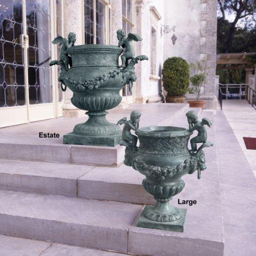 Large Classic Luxury Double Cherub Lost Wax Solid Bronze Garden (Cherub Urn)