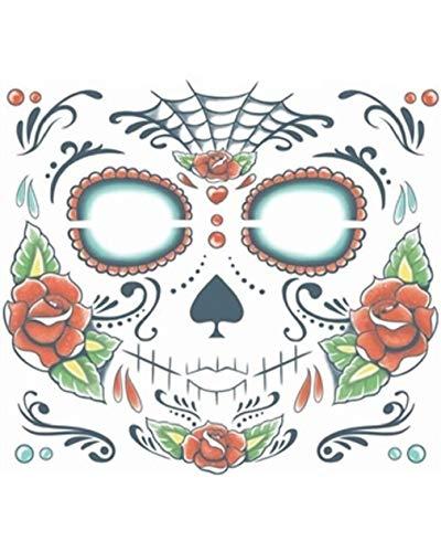 (Sugar Skull Dia De Los Muertos Face Tattoo Costume)