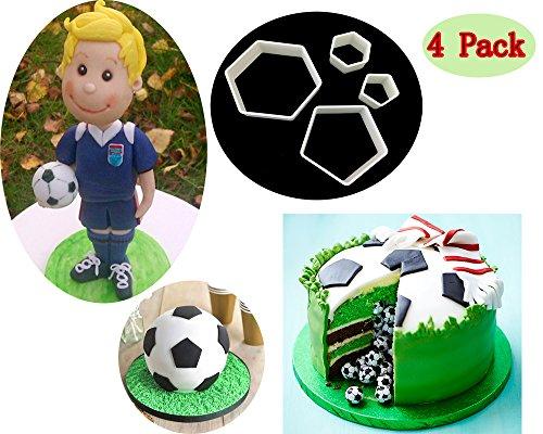 Sakolla (Set of 4) The Easiest Soccer/Football Cookie Ever Cutter Set Stadium Player World Cup Master Chart Cake Decoration Gumpaste Fondant Mold