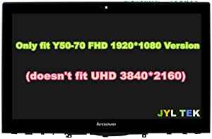 """JYLTK New Genuine 15.6"""" FHD (1920x1080) LCD Screen LED Display + Touch Digitizer + Bezel Frame Assembly for Lenovo Ideapad Y50-70 Y50-70T FRU: 5D10F78784"""