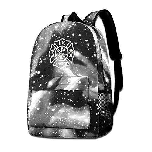 NINSKOSWNB Fire Department Backpack Fashion School Backpack Star Sky Gray