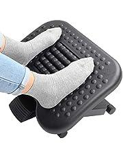 HUANUO Fotstöd med 3 justerbara höjder och justerbar lutningsvinkel, halkfri fotpall med massagefunktion passar för kontor, hem