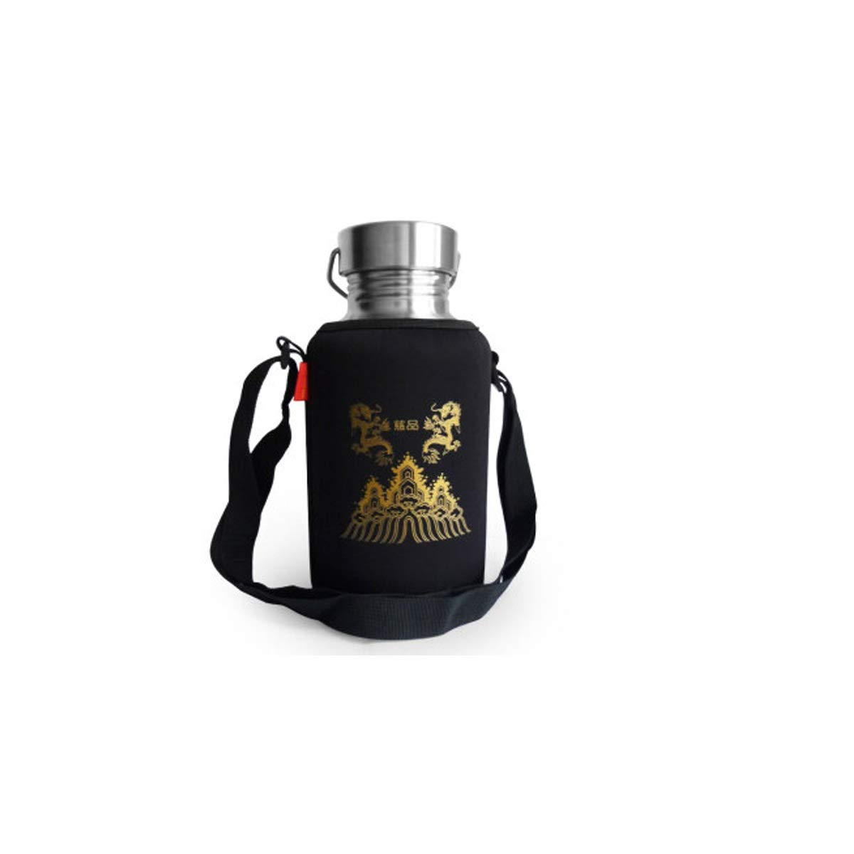 Tongboshi 304 Stainless Steel 2000ml Large Capacity Kettle, 2L Outdoor Military Training Sports Kettle Cup, Travel Climbing Pot, 2000ml All Steel Cup + Solid Color Cup Set - No Insulation