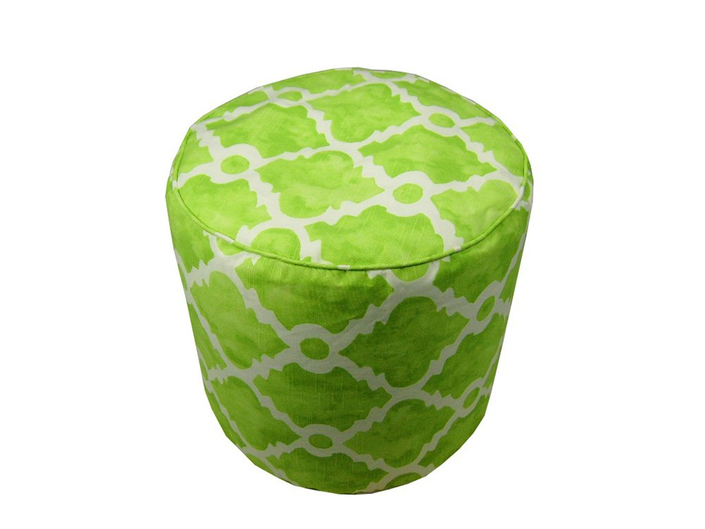 Lava Polyester Ottomans Lava Pillows Lattice Green - 17 X 17 Large Round Pouf 17 X 17 X 17 Inches Green Model # 56686.312