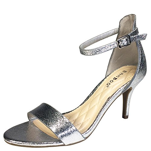 Strap Ankle Mid Silver Sandal Heel Bamboo Single with Band Women's BTwnSqO