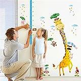 KELAI & craft art decor Cartoon Giraffe Animal Wall Decals Beautiful Height Measurement Growth Chart Wall Stickers Decals for Kids Bedroom Living Room Nursery (#2)