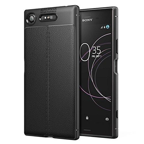 MoKo Sony Xperia XZ1 Case, PU Leather Texture Flexible TPU Gel Bumper...