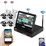 [All-in-One]SMONET HD 4CH 960P 1TB HD Wireless Video Security Camera System(NVR Kits&DVR kits) with 10.1 Inches Monitor, 4PCS 1.3MP Weatherproof Bullet IP Cameras, P2P, Auto Pair, 65ft Night Vision