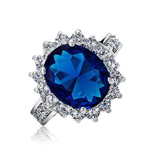 Bling Jewelry Kate Middleton Diana Ring Oval Blue Sapphire Color CZ Engagement Ring Silver Plated 5ct with Crystal Gift Box - Size 7