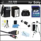 32GB Accessory Kit For Sony HDR-CX380, HDR-CX380/B, FDR-AX100, HDR-CX900 HD Camcorder Includes 32GB High Speed SD Memory Card + Replacement (2300Mah) NP-FV70 Battery + Ac / DC Charger + Deluxe Case + 50 Tripod + Micro HDMI Cable + USB 2.0 Reader + More