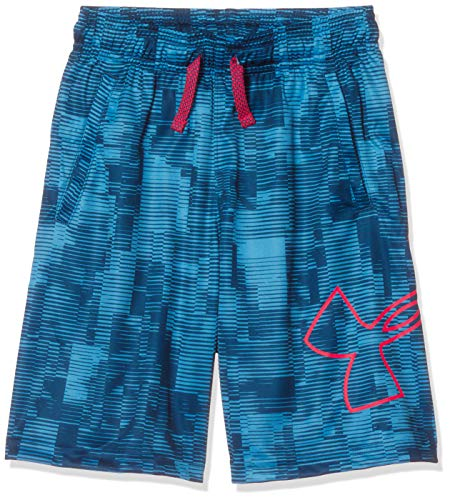 Boys Under Armour - Under Armour Boys' Renegade 2.0 Printed Shorts, Ether Blue (452)/Red Rage, Youth Medium